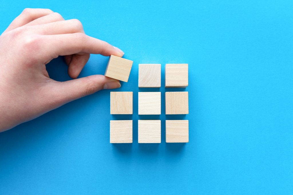 Business strategy theme concept using wood block
